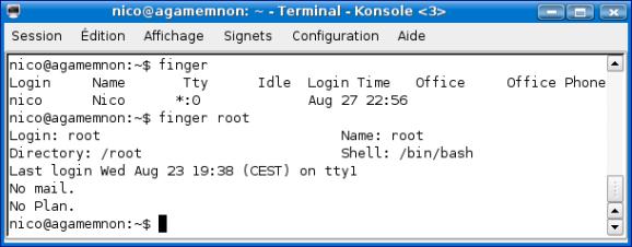Cours de TSSRI sur Linux Finger